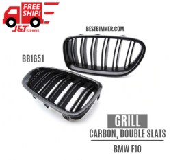 Grill Shiny Black Carbon Fiber Double Slats BMW F10