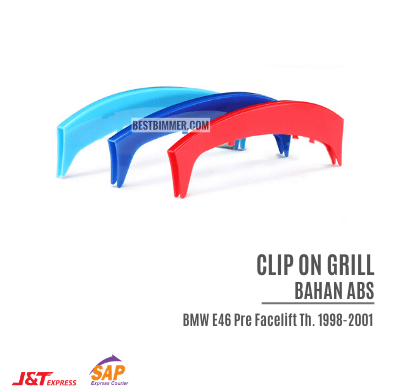 Clip On Grill Bahan ABS BMW E46 Pre Facelift Th. 1998-2001